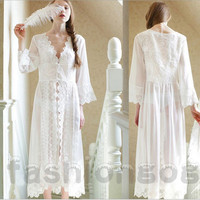White Lace Chiffon Sleepwear Women Princess Design Sexy Long Nightgown Robe Romantic Nightgowns Dresss Vestidos De Festa