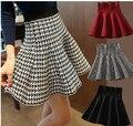 2014 nueva venta caliente de la mujer otoño invierno de cintura alta Houndstooth knitting busto falda mujer Render faldas envío gratis