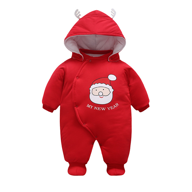 2017 New Christmas Red Baby Romper+Shoes+ Hat 3pcs Winter Santa Claus Toddler Hooded Jum ...