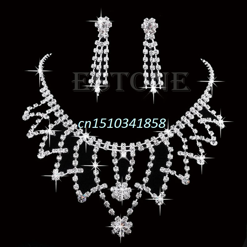 New Wedding Bride Bridesmaid Crystal Rhinestone Necklace Earring Prom Jewellery Sets #Y51# ...