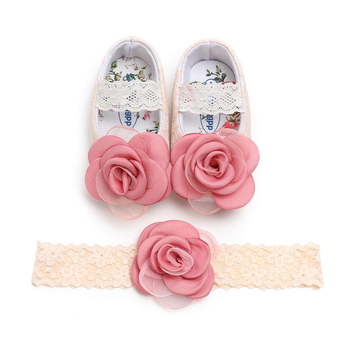 Baby Girl Lace Princess Shoes Toddler First Walkers with Flower Headband Soft Soled Non-slip Footwear Prewalkers Newborn Gift