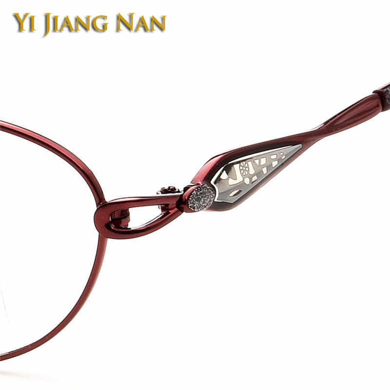 Mujeres de aleación de memoria de oro prescripción de anteojos gafas de moda gafas redondas transparentes lentes llanta completa Marco de gafas