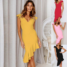 S-XL women  v neck sleeveless dress lady sexy night evening party midi dress casual leisure brand dress