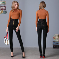 Autumn Spring Jeans Womens High Waist Elastic Skinny Denim Long Pencil Pants Back Cross Woman Jeans
