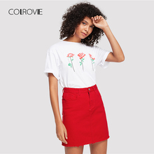 COLROVIE Frayed Hem Pockets Denim Skirt 2018 New Red Ripped Mid Waist Girly Casual Mini Skirt Summer A Line Basic Women Skirt
