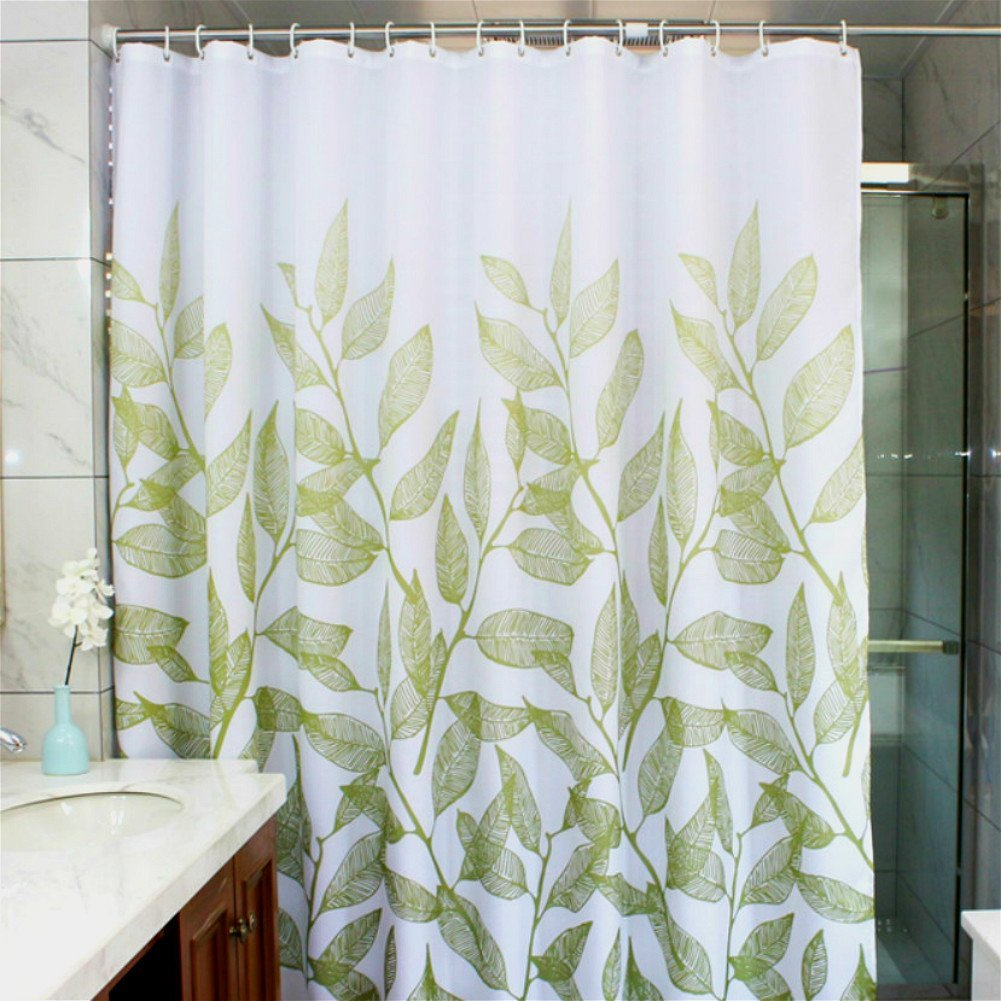 MangGou Leaves Fabric Shower Curtain,Waterproof Polyester Bathroom Curtain,Decorative Shower Curtain liner With 12 Hooks,