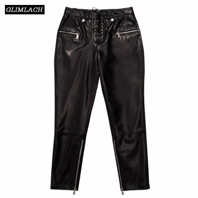 Women Sheepskin Genuine Leather Pants Lady Real Leather Trousers Plus Size New Winter Fashion Sexy Lace Up Slim High Waist Pants
