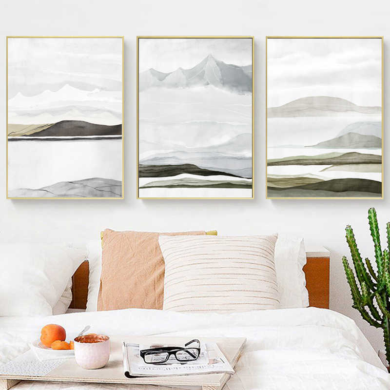 Chinese Abstract Oil Pianting on Canvas Posters and Prints Wall Art Canvas Light Luxury Abstract Mountain Pictures Living Room