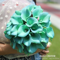 Tiffany Blue Red PU Calla Artificial Flower Wedding Bride Bridal Bouquet Bridesmaid Holding Flower For Wedding