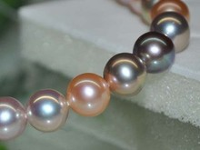 Top Outstanding Luster Natural RARE Multi AAA 8 9mm Round Pearl 12746