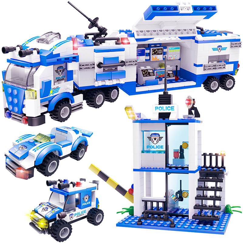 858pcs City SWAT Police Station Building Blocks Compatible Legoinglys City Truck Car Bricks Boys Friends Toys For Children GB28