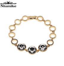 Niumike Jewelry Bracelet Bangle Women Copper Alloy Embellished with Crystals from Swarovski Connecting Bracelet Fashion chic shark teeth shape embellished bracelet for women