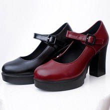 New Platform Thick High Heels Mary Janes Shoes Women Casual Round Toe High Heel Pumps Ankle Work Buckle Strap Shoes New Arrived цена 2017