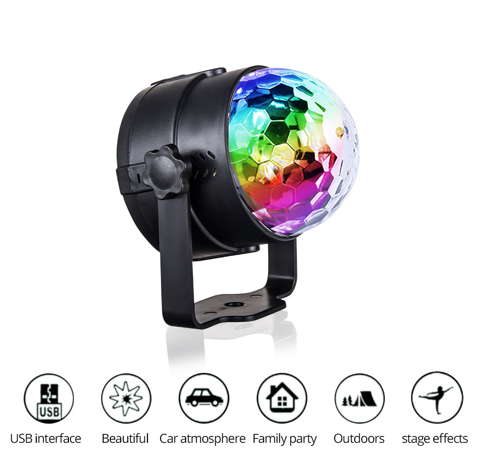 VooVoo Car USB Led Atmosphere Lights RGB LED Car Interior Rotating DJ Lights Party Decoration Lighting + Wireless Remote Control_01 (2)