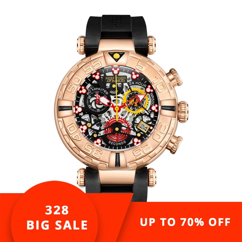 Риф Тигр/RT Лидирующий бренд мужские спортивные часы хронограф розовое золото часы с костями водостойкие reloj hombre masculino RGA3059-S