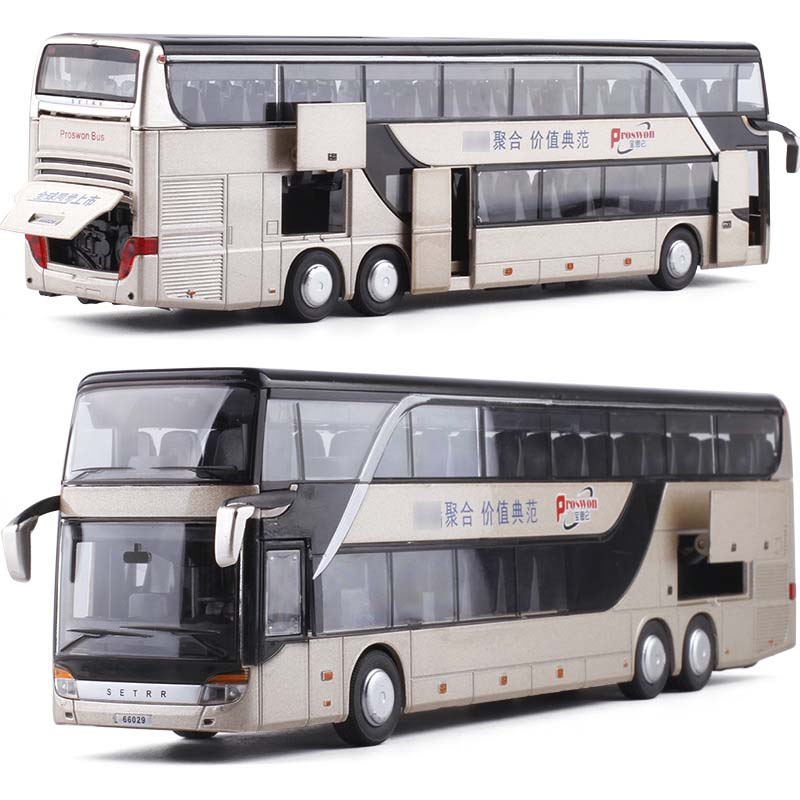 1:32 High Quality Alloy Pull Back Bus Model High Simitation Double Sightseeing Bus Flash Toy Vehicle Kids Toys