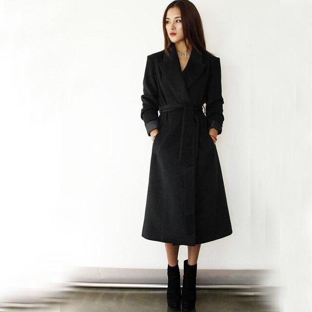 Plus Size S-XXXL Women Long Design Woolen Coat, Super Discounted Ultra Long Black Red Wool Jackets