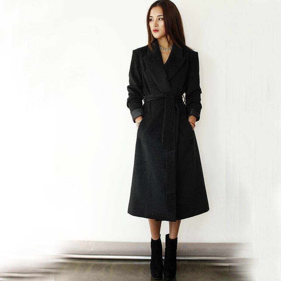 Plus Size S XXXL Women Long Design Woolen Coat, Super Discounted Ultra Long Black Red Wool Jackets