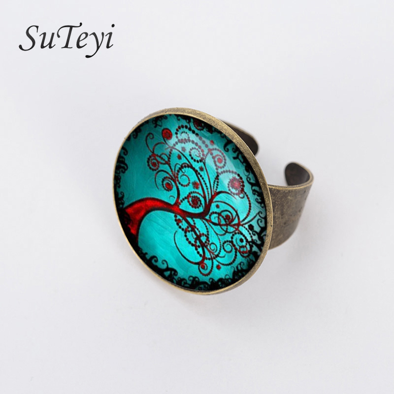 SUTEYI New 20mm Life Tree Glass Cabochon Vintage Ring Antique Bronze Plated Rings for women Jewelry Adjustable Vintage Ring