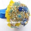 EMS бесплатная доставка, Красный и синий свадебный с цветами в руках/желтый и синий контрастного цвета невесты ювелирные изделия букет