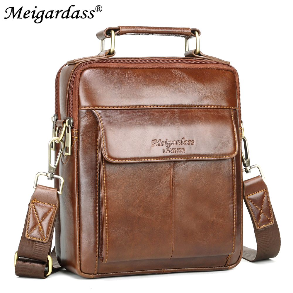 MEIGARDASS Casual Men's Messenger Bags Genuine Leather Shoulder Bags For Man Business Male Crossbody Bag Ipad Tablet Tote Purse