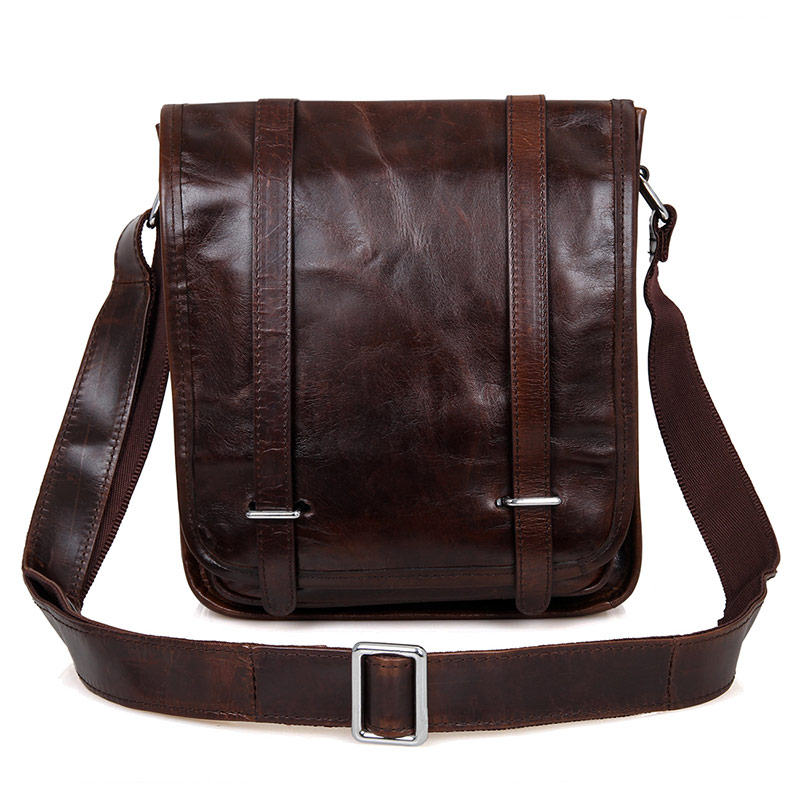 JMD  Real Vintage Leather Boy Men Shoulder Messenger Bag Cross Body Bag # 7109Q