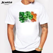 BLWHSA Newest Men's T Shirt Fashion Short Sleeve Nostalgic Style Ireland Flag Print T-shirts Tee Hipster O-neck Tops