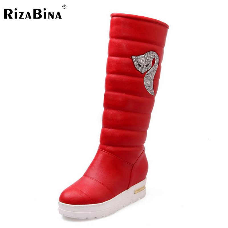 RizaBina Women Half Short Platform Boots Beading Warm Fur Thick Bottom Boots Women Cold Winter Shoes Woman Footwear Size 34-39