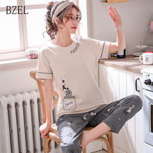 BZEL Womens Pajamas Sets 2019 Summer Round Neck 2Pcs/Set Pyjama Cartoo