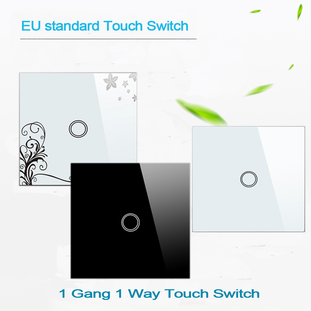 Makegood EU Standard 1 Gang 1 Way Crystal Glass Panel 1 Gang 1 Way Touch Screen Light Switch , Wall Switches for Smart Home eu standard 2 gang 1 way touch switch crystal glass panel wall light switches smart home automation round type