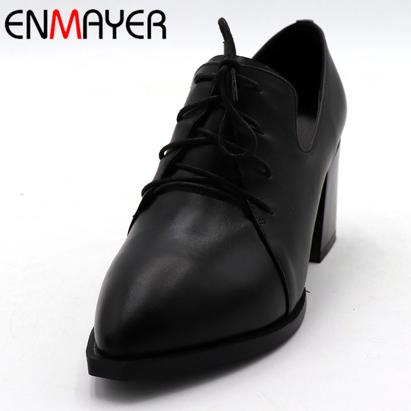 ENMAYER New Woman Shoes High Heel Pointed Toe Girls Casual Shoes Platform Shallow Pumps Lace-up Solid Square Heel Lades Shoes hizcinth 2018 spring women shoes shallow lace up square toe single shoes woman geometric stars casual flats platform shoes