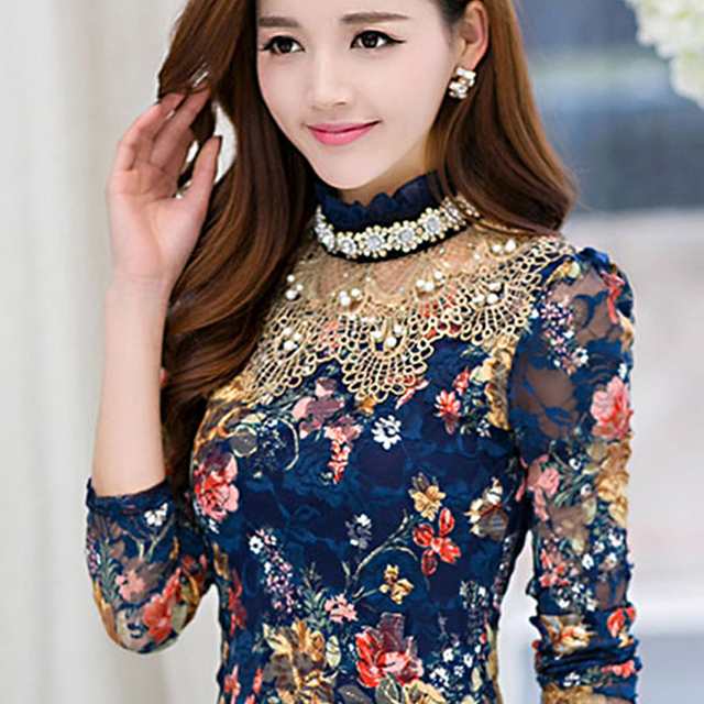 d931862124a97 2017 Autumn Luxury Gemstones pearl print lace blouses women Palace long  sleeve print lace shirts bead