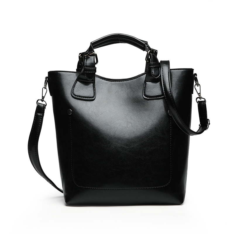 Autumn Winter Bucket Handbag Women PU Leather Handbags Ladies Large Tote Bag Female Shoulder Bags Casual Top-Handle Sac Femme