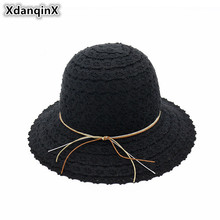 XdanqinX Foldable Summer New Style Womens Straw Hat Elegant Hollowed Lace Fashion Sun Hats Sunscreen Beach For Adult Lady