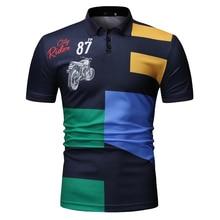 YASUGUOJI New 2019 Summer Short Sleeve Polo Shirt Men Casual Pattern Print Polo Shirts Fashion Contrast Color Men Polo Shirt недорого