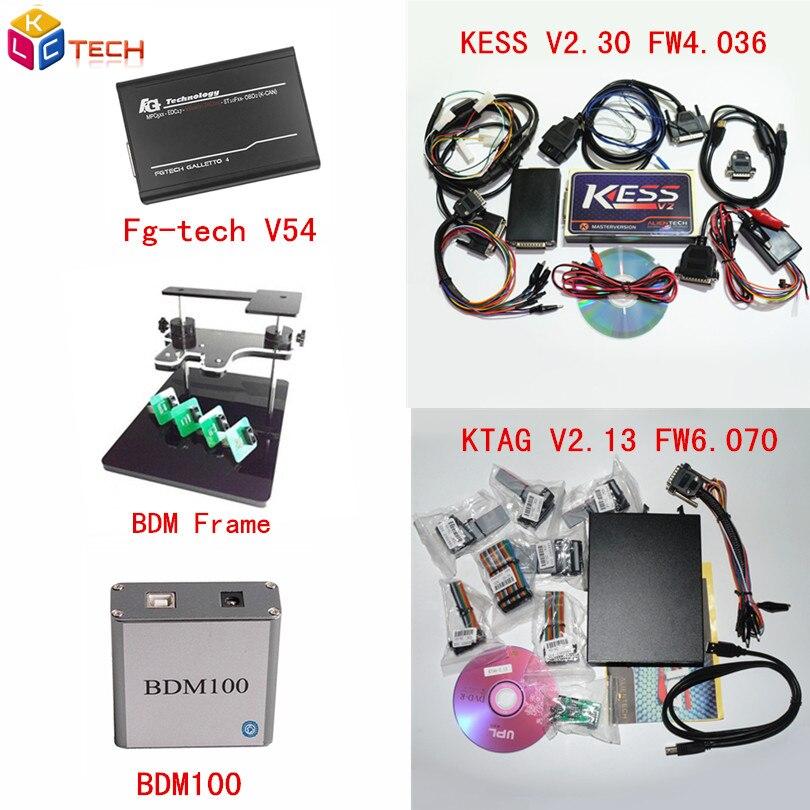 Цена за Лучший Матч Kess V2 OBD2 Менеджер FW4.036 V2.32 + KTAG 2.13 FW6.070 К-TAG ECU Программатор Galletto V54 FGTECH + BDM Рама + BDM 100