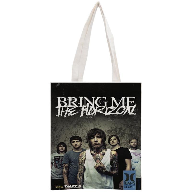 Custom Bring Me The Horizon Cotton Canvas Shopping Bags 30x35cm Tote Bag Reusable Handbag Women Shoulder Cloth Pouch Foldable tote bag