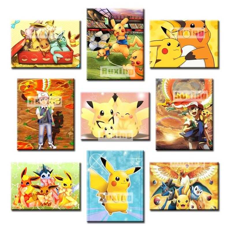 100% Full DIY 5D Diamond Painting Pikachu Cross Stitch Embroidery Patterns rhinestones Mosaic bk
