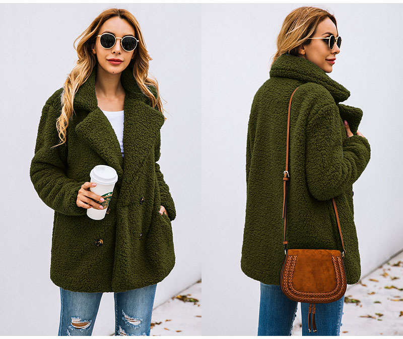 HTB1HJ5Ebbj1gK0jSZFOq6A7GpXad Lossky Women Long Sleeve Autumn Winter Thick Warm Jacket Coats Plus Size Loose Button Pocket Pink Lady Plush Flannel Overcoat