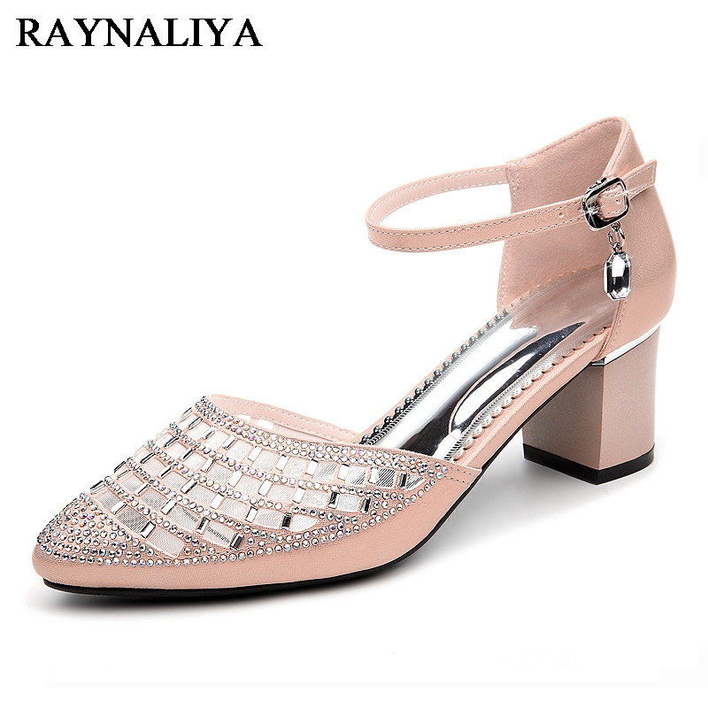 Large Size 34-40 2018 Med Heels Pointed Toe Party Prom White Pink Women Sandals Shoes Women YG-A0057