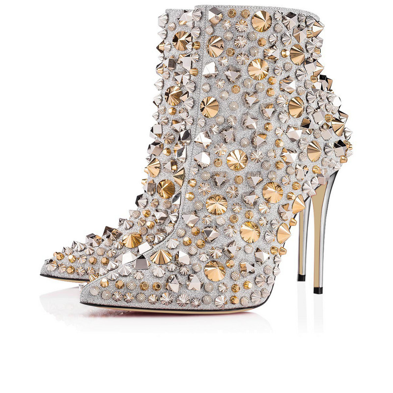 Detail Feedback Questions about 2018 spiked rivets studded Pointy Toe ankle  Boots for women 12 cm super high Heel Bling bling sequins decor shiny short  ... f7e179bd0994