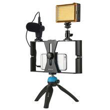 PULUZ 스마트 폰 비디오 조작 + LED 스튜디오 라이트 + 비디오 마이크 + iPhon 용 콜드 슈 삼각대 헤드가있는 미니 삼각대 장착 키트