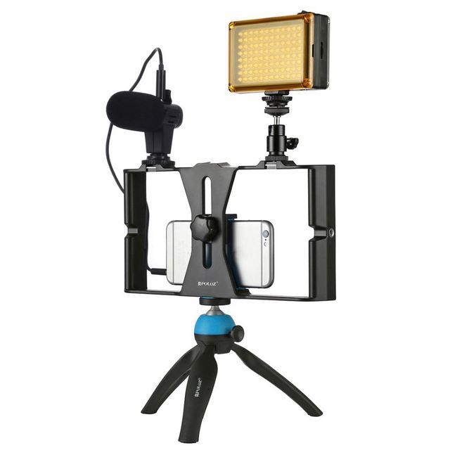 Puluz smartphone vídeo rig + led studio luz microfone de vídeo mini tripé montagem kits com sapato frio tripé cabeça para iphon