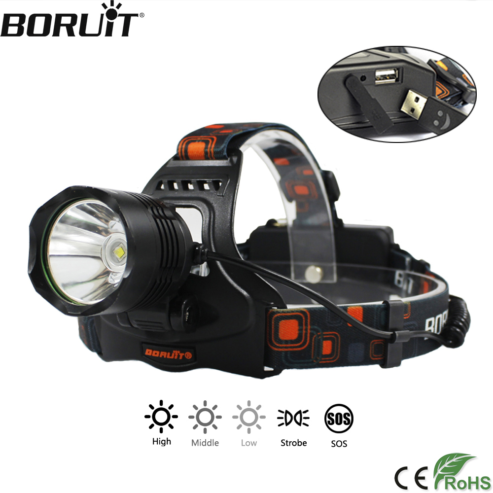 BORUiT 20000LM XML-L2 LED Headlamp 5-Mode Headlight POWER BANK Head Torch Camping Hunting Frontal Lantern by 18650 Battery
