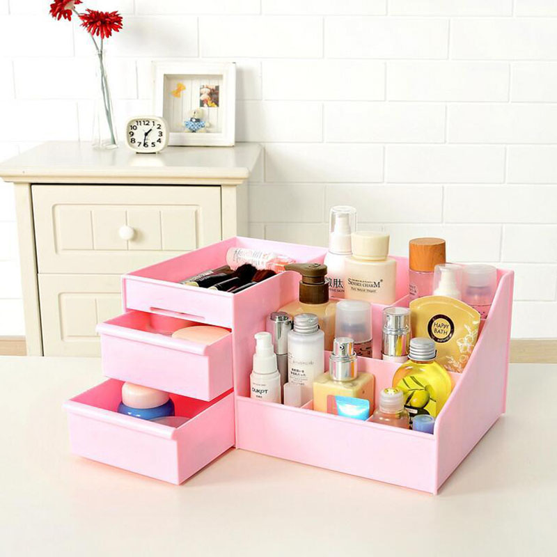 Image 2 - 2019 New Plastic Makeup Organizer Make Up Brush Storage Box with Drawer Cotton Swabs Stick Maker Storage Case Hot Sale-in Makeup Organizers from Home & Garden