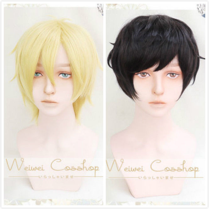 Disciplined Anime Banana Fish Ash Lynx Short Blonde Eiji Okumura Black Cosplay Hair Wig Costumes & Accessories