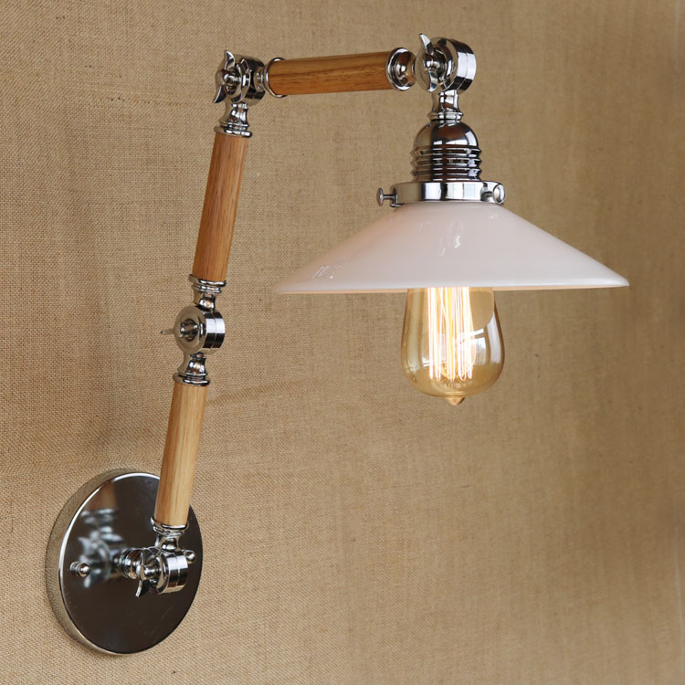 LOFT Retro Wall Lamp 3 Adjustable Arms 90~260V E27 Bedside Reading Lamp Wood Metal Modern Home Decoration High Quality WWL015 modern 3 color adjustable triangle