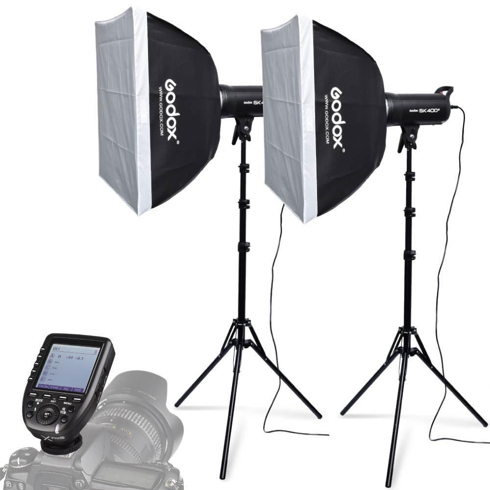 2x Godox sk400ii 400 Вт Студия флэш Strobe + софтбоксы + Осветительные стойки + XPro n триггера Комплект для Nikon DSLR Камера