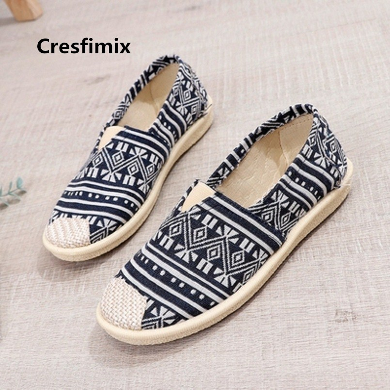 Cresfimix Chaussures Pour Femmes Women Fashion Comfortable Flat Shoes Lady Anti Skid Slip On Flats Female Cool Cloth Shoes C245