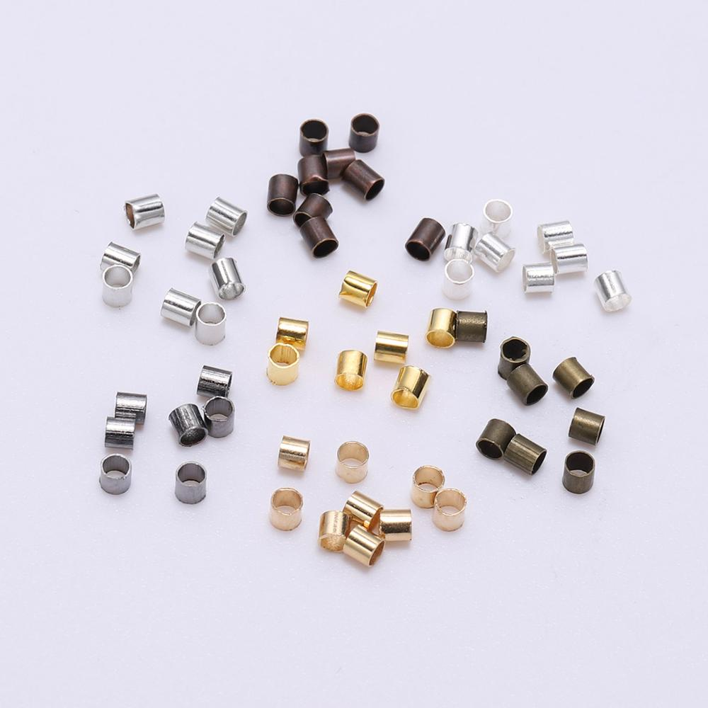500pcs 1.5 2.0 2.5mm Gold Silver Copper Tube Crimp End Beads Stopper Spacer Beads For Jewelry Making Findings Supplies Necklace